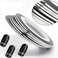 Лента скотч для дизайна ногтей, Silver 1 мм