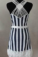 Платье полоска с кружевом на спинке, фото 1