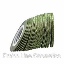 Лента скотч для дизайна ногтей, сахарная Green 1 мм