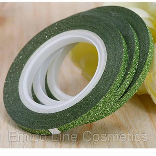 Лента скотч для дизайна ногтей, сахарная Green 2 мм