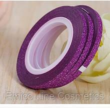 Лента скотч для дизайна ногтей, сахарная Purple 2 мм