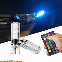 Авто-лампы габариты W5W T10 LED RGB CANBUS + стробоскоп с пультом ДУ (светодиодные)