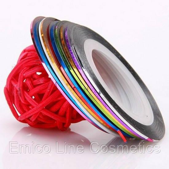 Лента скотч для дизайна ногтей, в ассортименте 1 мм