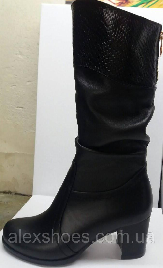 Cапоги зима из натуральной кожи на каблуке от производителя модель РБ114-2