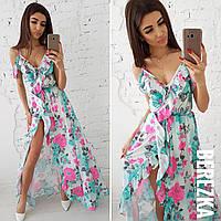 Женское платье из шелка с разрезом в расцветках tez66031601
