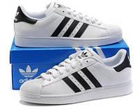 Кроссовки Adidas SuperStar White Black Белые женские реплика
