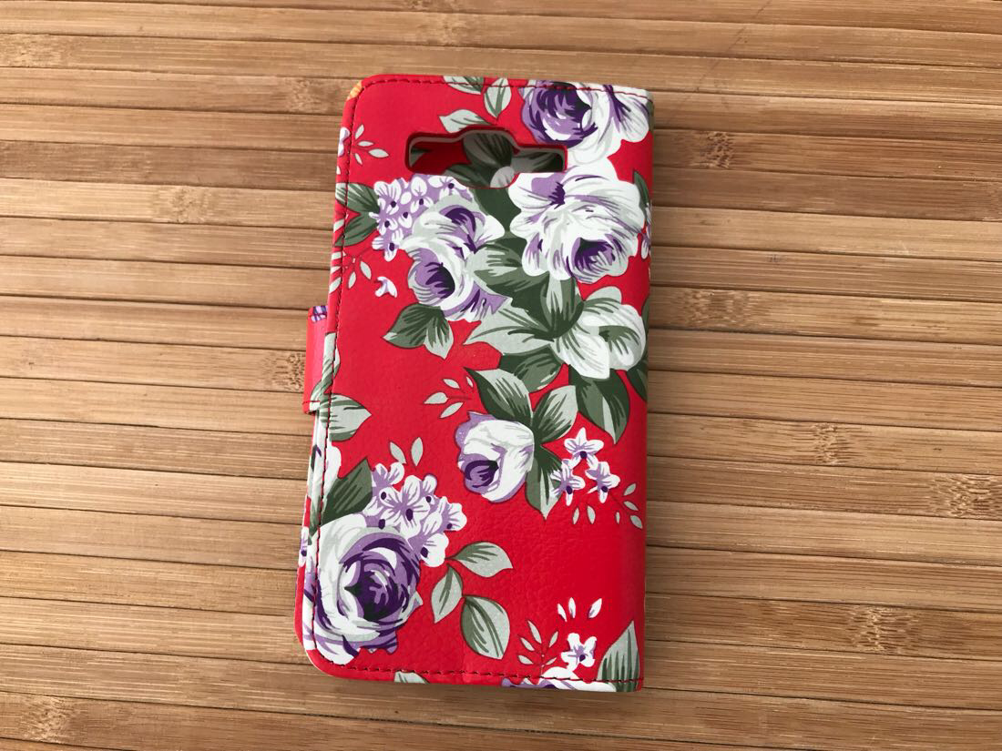 Book-case Samsung G530 red flowers Для телефона Grand Prime