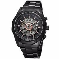 Механические мужские часы WINNER Timi Skeleton Siver/Black с автоподзаводом черный