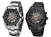 Механические мужские часы WINNER Timi Skeleton SILVER/Black с автоподзаводом