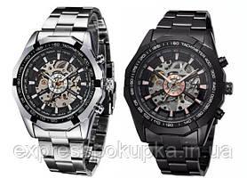 Механические мужские часы WINNER Timi Skeleton Siver/Black с автоподзаводом