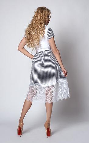 """Шикарне плаття """"Шарлота"""" розмір 44 смужка білі квіти, фото 2"""