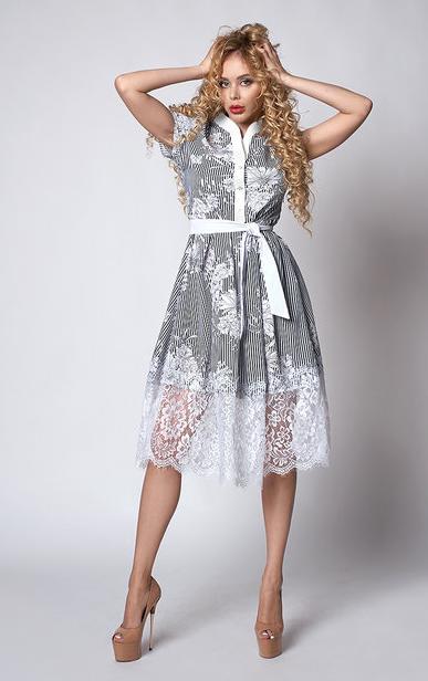 """Шикарне плаття """"Шарлота"""" розмір 44 смужка білі квіти"""