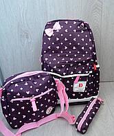 Школьный рюкзак для девочек с пеналом и сумочкой, фиолетовый