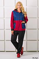Спортивный костюм Лакри большой размер бордовый (54-64), фото 1