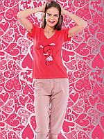 Женский комплект футболка+капри батал 4129
