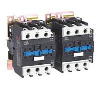 Пускатель электромагнитный реверсивный CJX2-65N, 65A, АС3, 220В, 30кВт, минимальное содержание серебра 50%, CNC, фото 1
