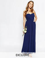 Синее длинное платье из шифона tfnc bandeau maxi bridesmaid dress эксклюзив для свадьбы или выпускного