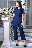 Льняной костюм Ганеша темно-синий (M,L,XL)