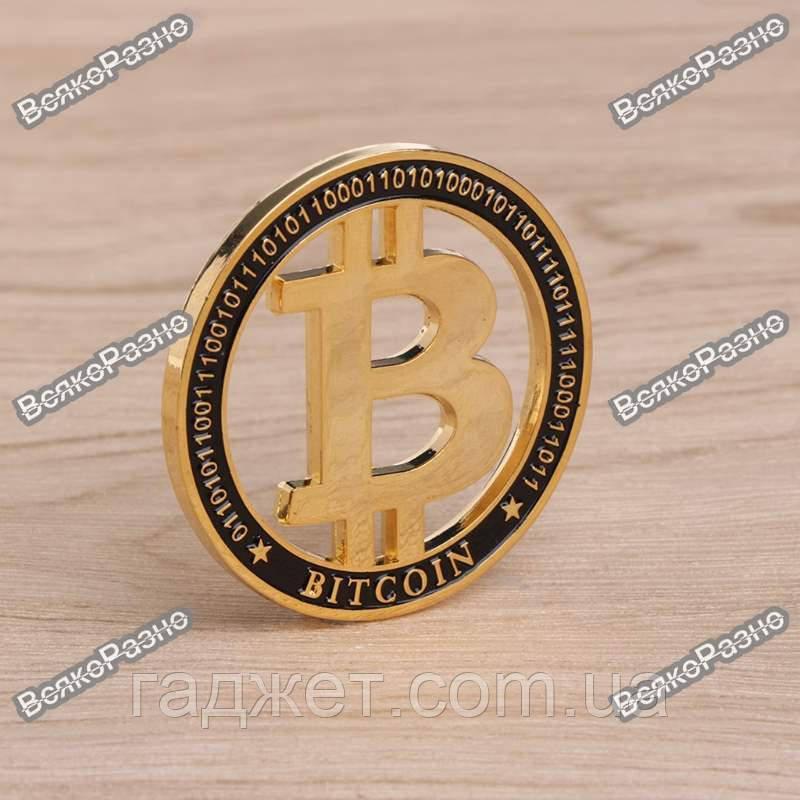 Монета Биткоин. Монета Bitcoin.  Сувенирная монета