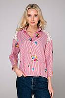 Рубашка в полоску с цветами NINA розовая