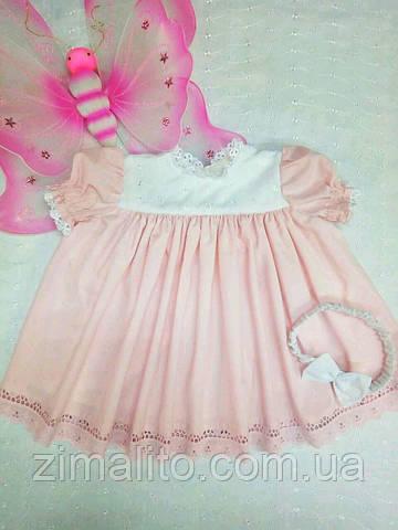 Платье детское дизайнерское розовое с бантиком на голову