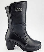 Полусапожки зима из натуральной кожи на устойчивом каблуке модель РБ085
