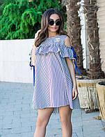 Котоновое полосатое платье с широким рюшем
