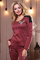 Стильный женский свитшот-кофта 2503 марсала