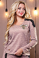 Стильный женский свитшот-кофта 2504 персиковый