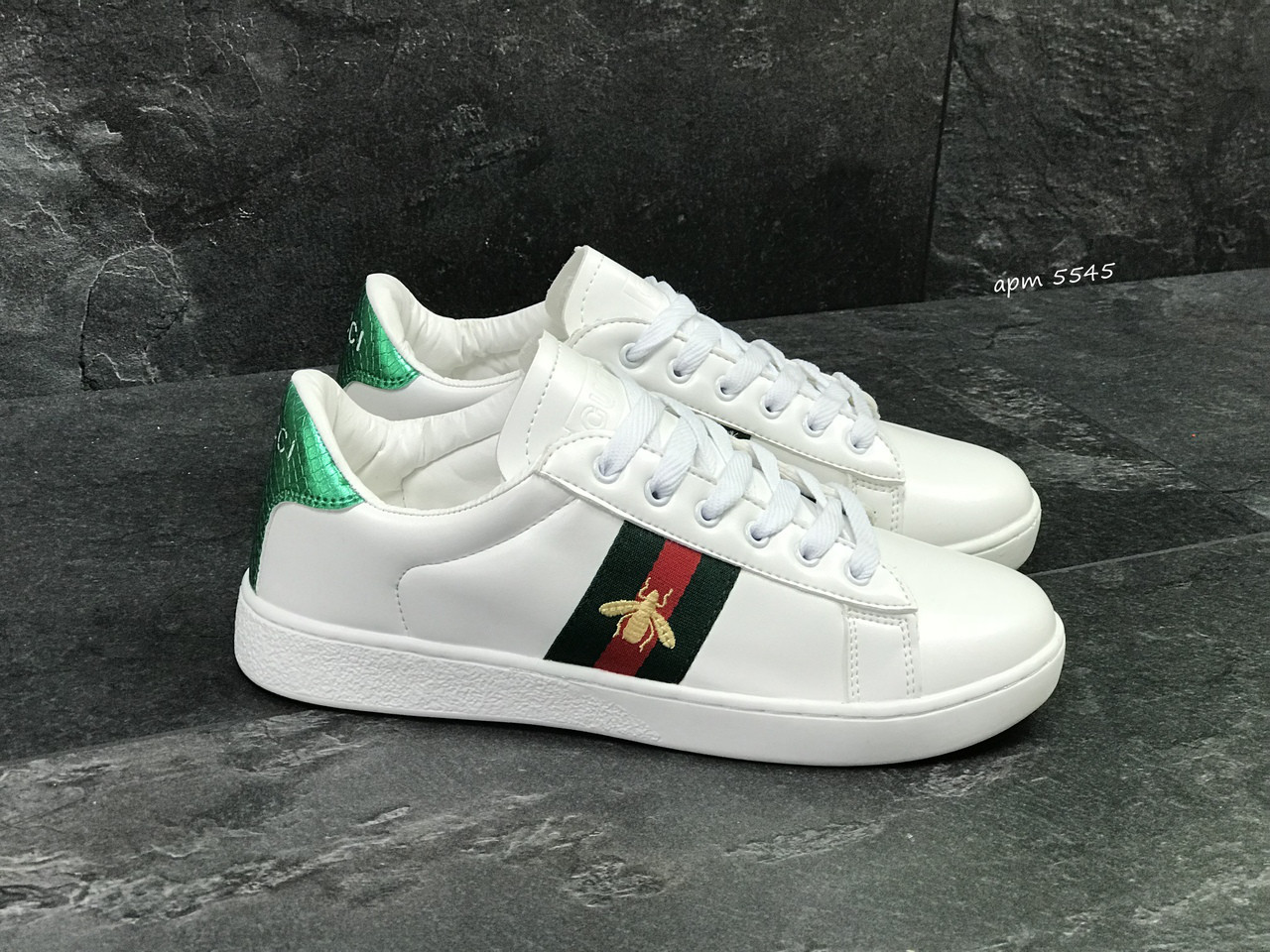 Мужские кроссовки Gucci, белые (Реплика) - Интернет-магазин