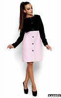 Пальто прямого кроя Алан черный+розовый (S,M)