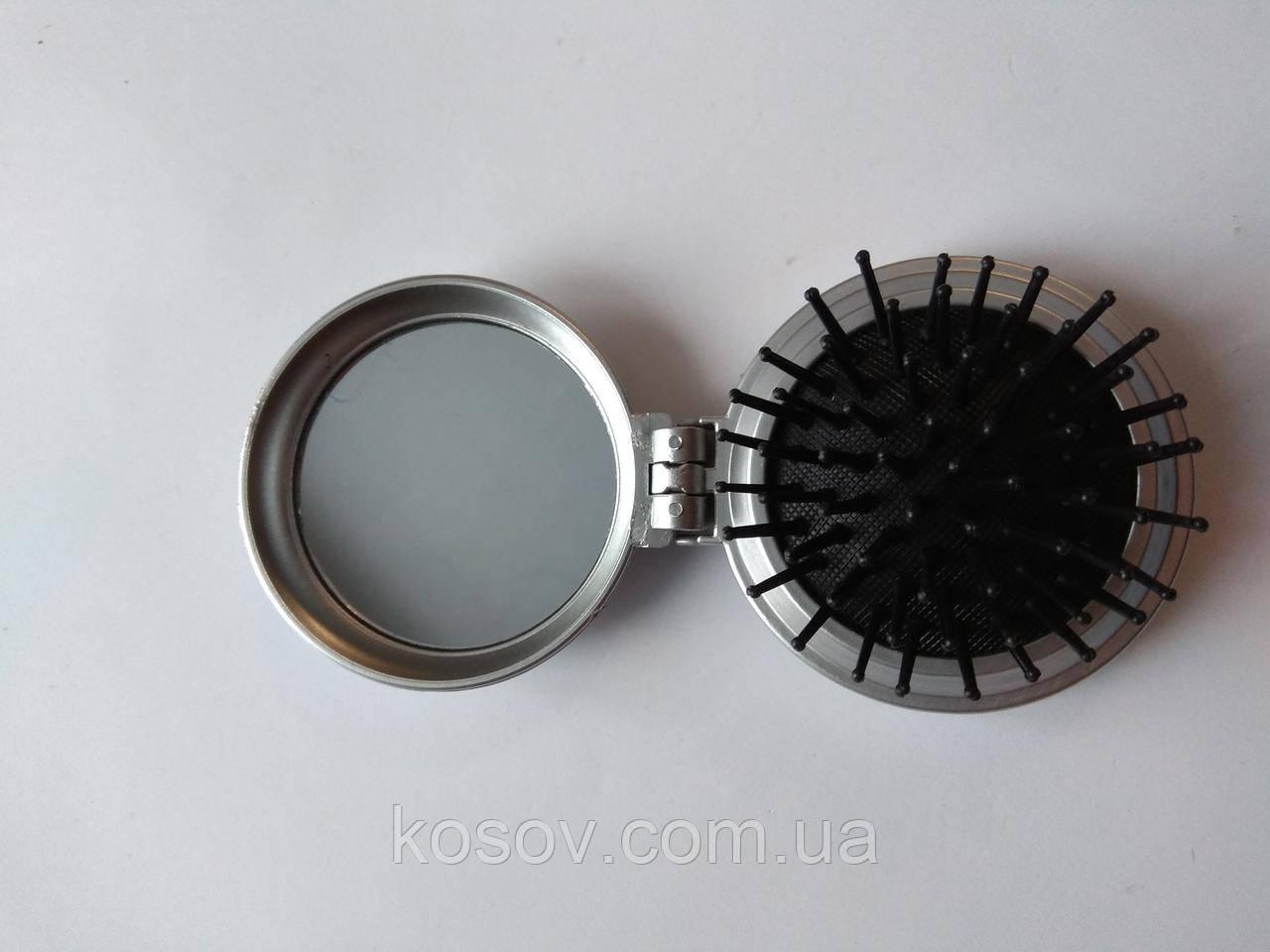 Расческа-масажка раскладная 13х6см (серебряная)