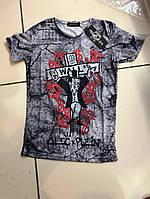 Мужская футболка  качественный принт ЧЕРЕП- материал: 95% хлопок, 5% лайкра ) Турция  S M L XL
