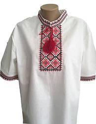 Мужская вышиванка из льна с коротким рукавом