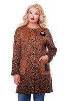 Пальто кашемир большого размера горчичного цвета (52-58)
