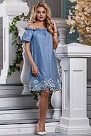 Красивое стильное летнее женское платье цвет голубой, фото 1