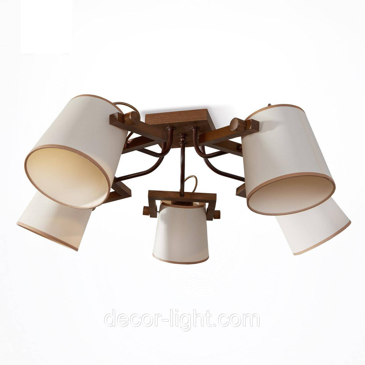 Люстра 5-ти ламповая, металлическая, с деревом и абажурами, спальня, зал, гостиная 20205-2