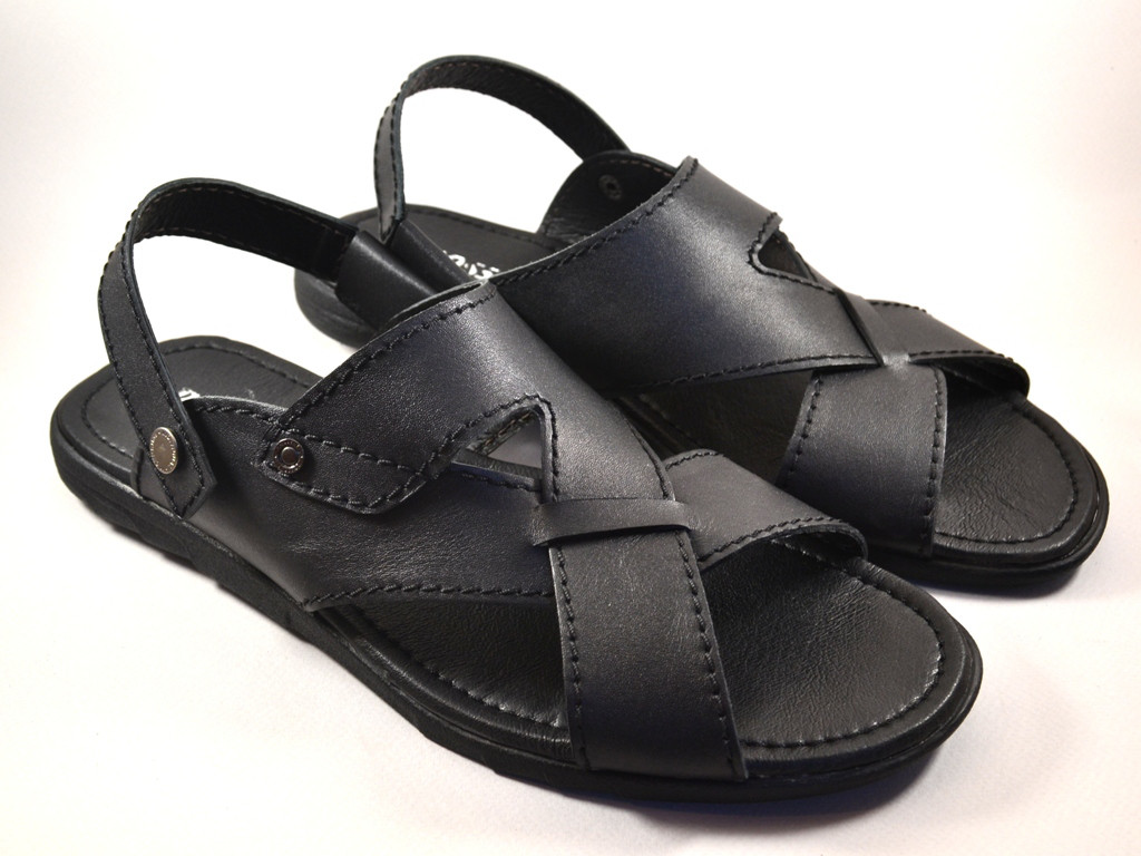 3cfef9421 Большой размер сандалии босоножки мужские кожаные черные Rosso Avangard BS  Sandals Bertal -