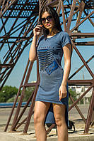 Модное платье-туника синий цвет (M-XL), фото 1