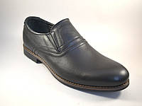 Мужская обувь больших размеров туфли на резинке кожаные классические черные Rosso Avangard BS Felicite Rizz
