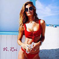 Купальник раздельный женский на завязках (с чашечками) красный