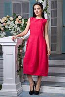 Льняное платье Маша коралл (L,XL,XXL)