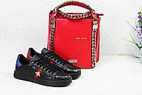 Женские кеды Gucci  черного цвета ( Реплика ААА+)