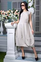 Льняное платье цвет бежевый (L,XL,XXL), фото 1