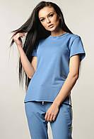 Модная трикотажная футболка свободного силуэта 42-52 размера джинс, фото 1