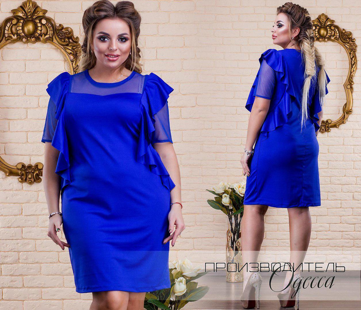 Комбинированное платье больших размеров 50+ украшено воланами  / 2 цвета  арт 5849-178