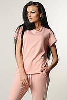 Модна трикотажна футболка вільного силуету 42-52 розміру рожева, фото 1