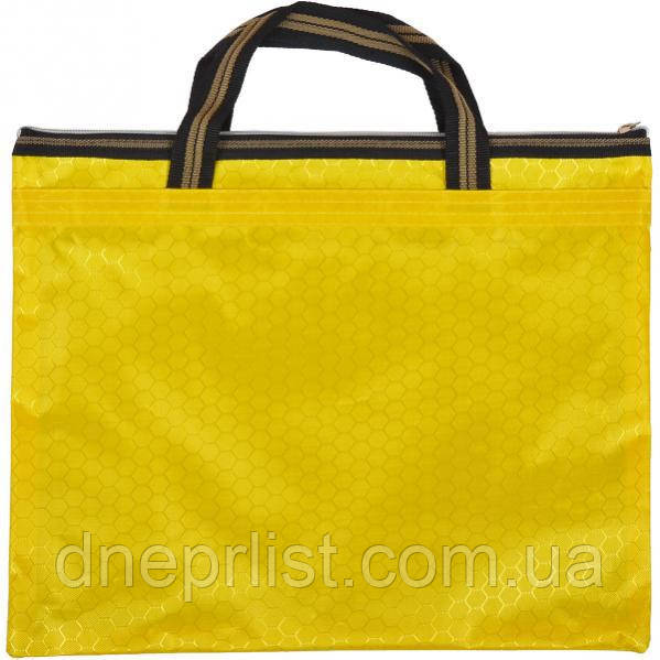 Сумка с карманом на молнии 36х30 см / желтая