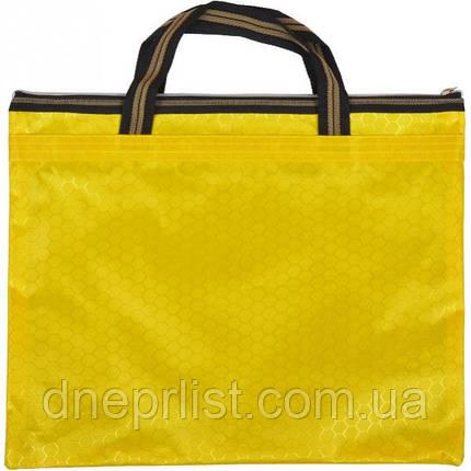 Сумка с карманом на молнии 36х30 см / желтая, фото 2