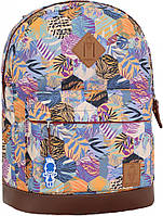 Городской рюкзак Bagland Молодежный с кожаным дном сублимация разноцветные соты